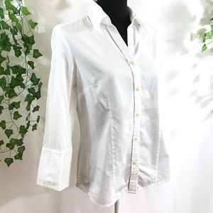 TALBOTS Stretch White Collared Button Up